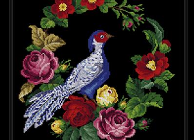 Antique Floral Silver Pheasant