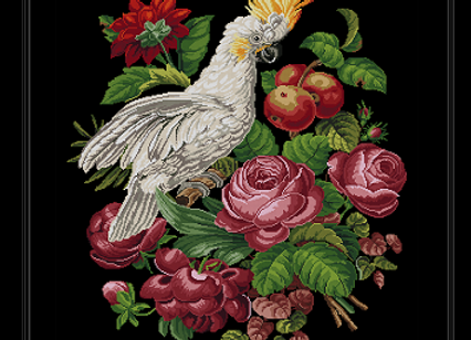 A Cockatoo  Surrounded By Roses