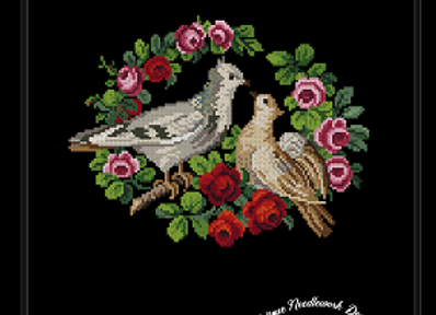 Two Pigeons in Small Roses