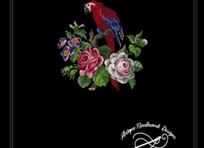 A  Macav  Parrot  with Flowers