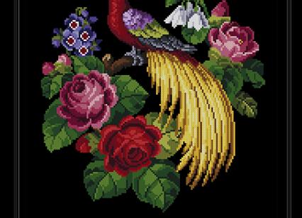 Petite Point  Roses & Bird
