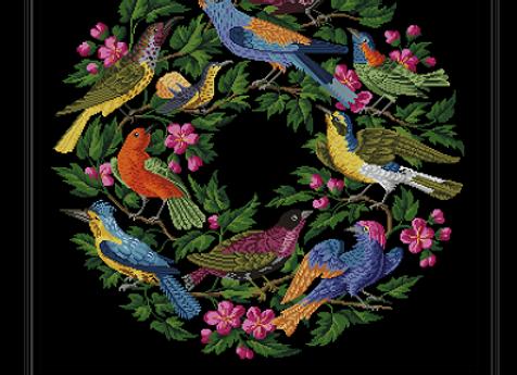 Antique Oval Floral Birds