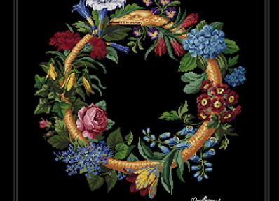 Round wreath in flowers