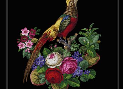 Antique Floral  Golden Pheasant