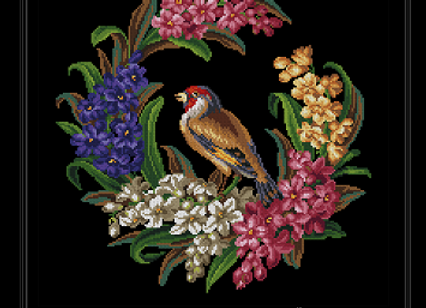 Goldfinch in a Wreath of Hyacinths