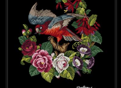 Antique Floral Parrot