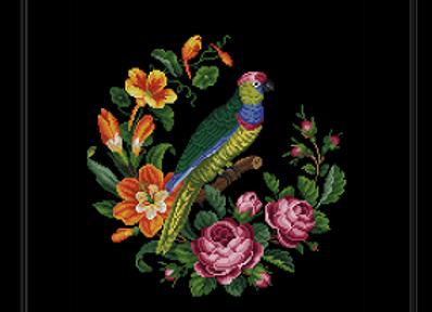 Exotic Birds and  Garden Flowers