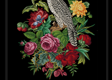Antique Victorian  Falcon With Flowers