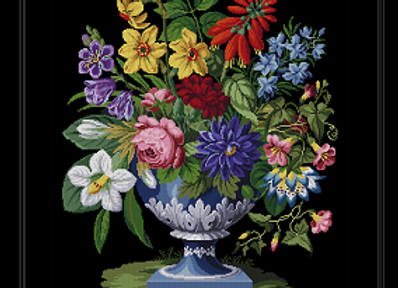 Blue Urn with Bouquet