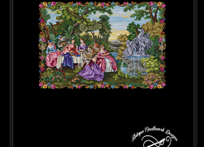 Large Scenic Petit Point tapestry