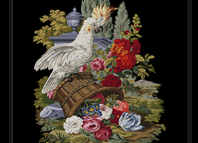 Antique Basket With Flowers Cockatoo