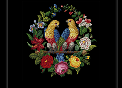 Two Parrots Among the Flowers