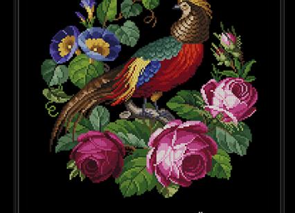 Victorian Bird Pheasant Roses