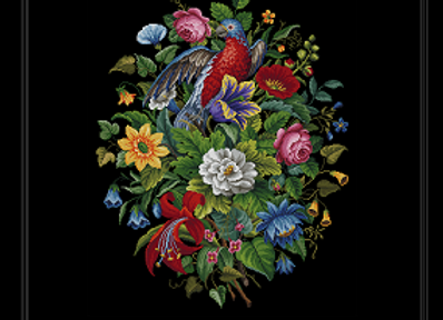 Antique Parrot in Flowers