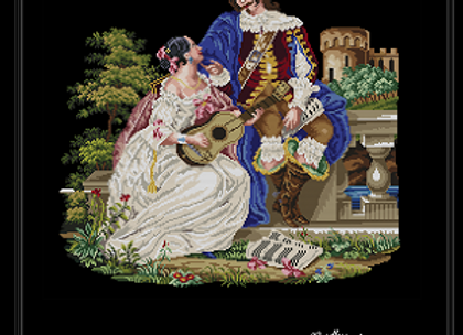 17th Couple Seated Before a Castle