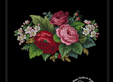 French Roses and Apple Blossom