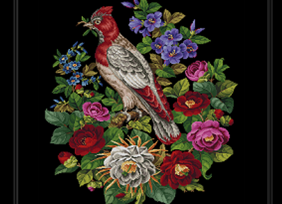 Cardinal Bird and  Flowers