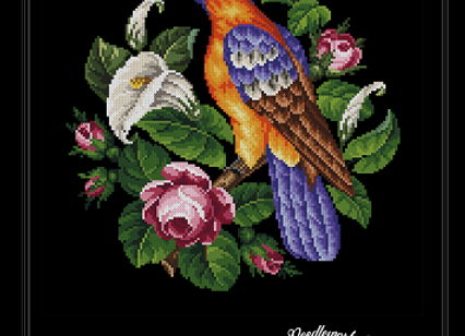 Antique Berlin Floral parrot