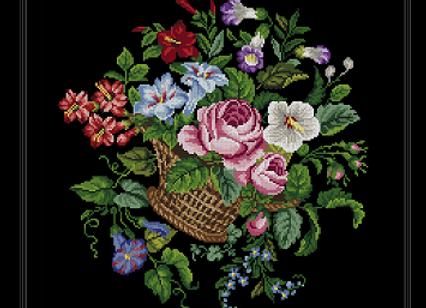 Antique Floral Basket