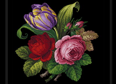 Roses and a Purple Tulip