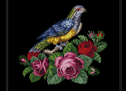 Antique Roses with bird
