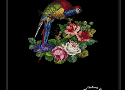 Large Parrot on Flowers