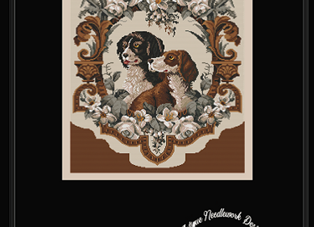 Antique Floral Two Dog