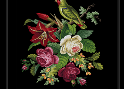 A Parrot and Flowers