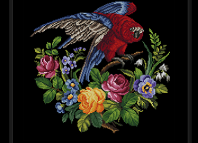 Antique Floral  Parrot 1917