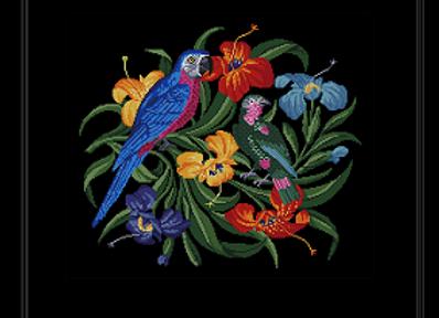Parrot  in  Floral  Bouquet