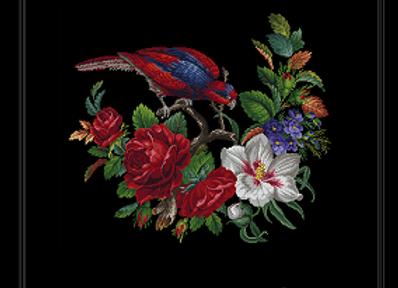 Oval  Floral  Parrot
