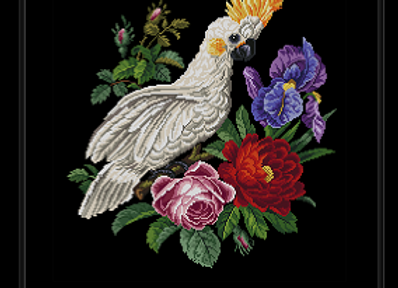Antique Flowers Cockatoo Parrot