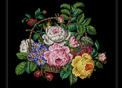 Basket of Roses and Primulas