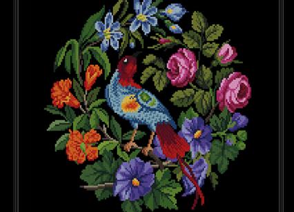 A Bird in a Round Flowers