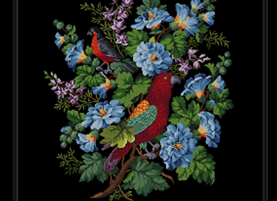 Two Birds and Blue Flowers