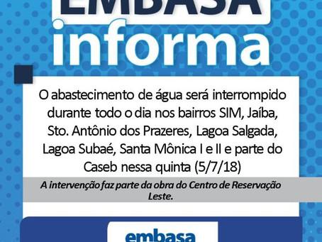 Embasa anuncia corte de abastecimento em oito bairros