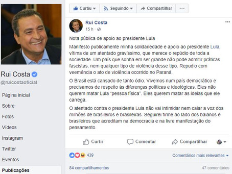 """Querem matar as ideias que Lula carrega"", diz Rui Costa"