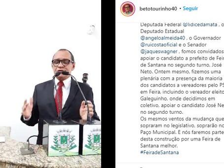 Tourinho anuncia apoio a Zé Neto