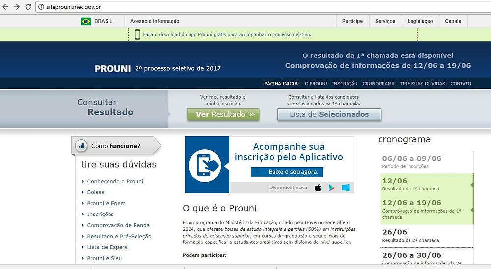 Tela inicial do site do ProUni