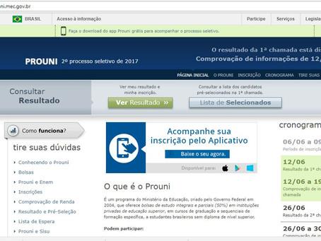 Resultado do ProUni publicado na internet