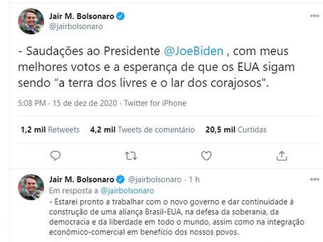 Bolsonaro enfim reconhece vitória de Joe Biden sobre Trump