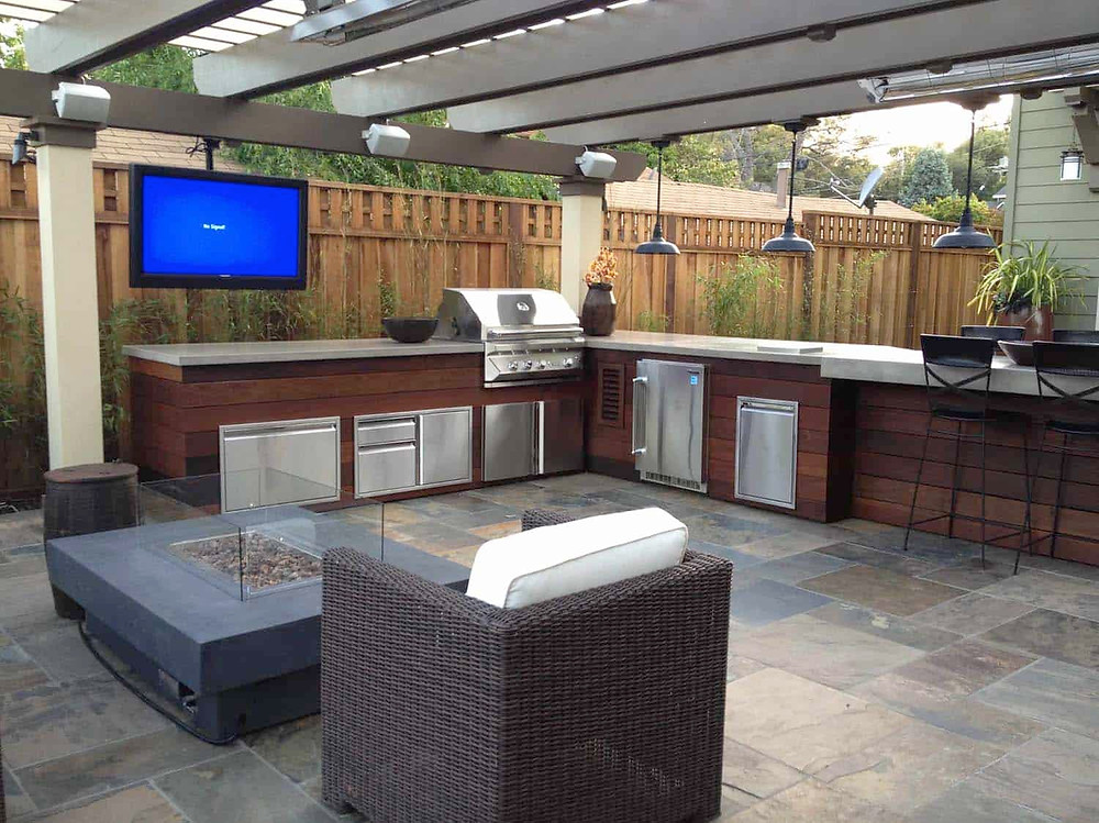 summit outdoor designs, outdoor designs, outdoor kitchen, straight kitchen, kitchen island, outdoor kitchen cabinets, outdoor, poolside bbq, bbq, built in bbq, pergola, covered patio, summit, deck builder lee's summit, l shaped kitchen, outdoor tv, firepit