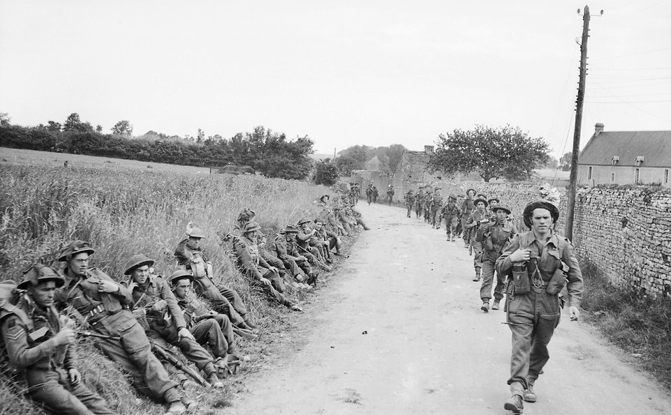 British troops advance on Crepon on D-Day