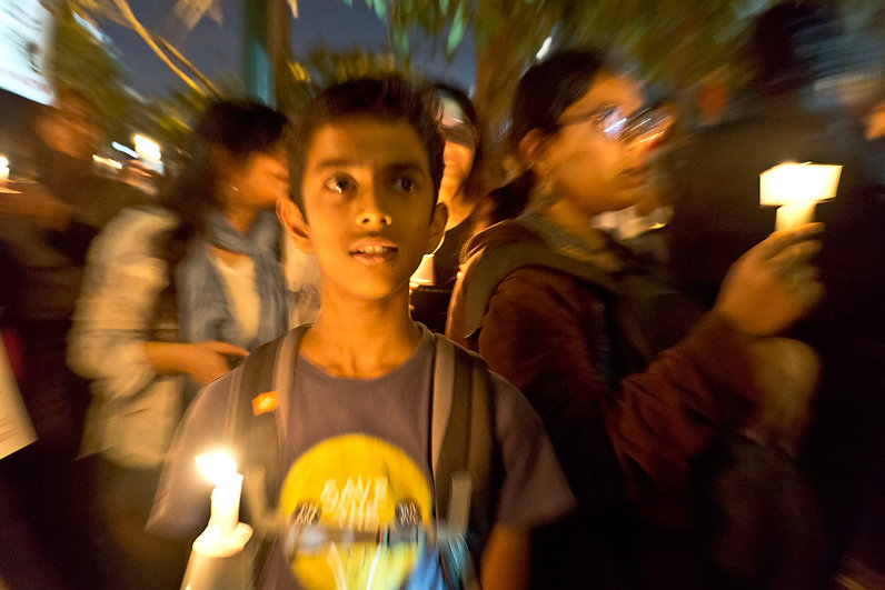 Vasanth, a seventh grade student, protests against the CAA during a candle-light vigil on Christmas Eve 2019.