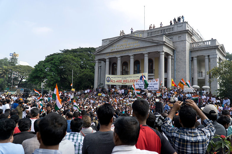Pro-CAA supporters gather at Town Hall, in central Bangalore.