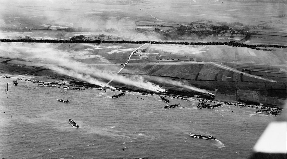 An aerial picture of the Ver-sur area in the Gold beach area on D-Day