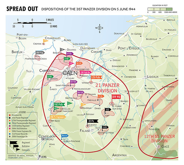 Map of the dispositons of the 21st Panzer Division on June 5, 1944, D-Day
