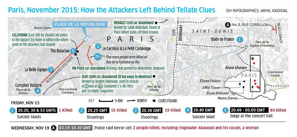 Map of Paris attacks in November 2015