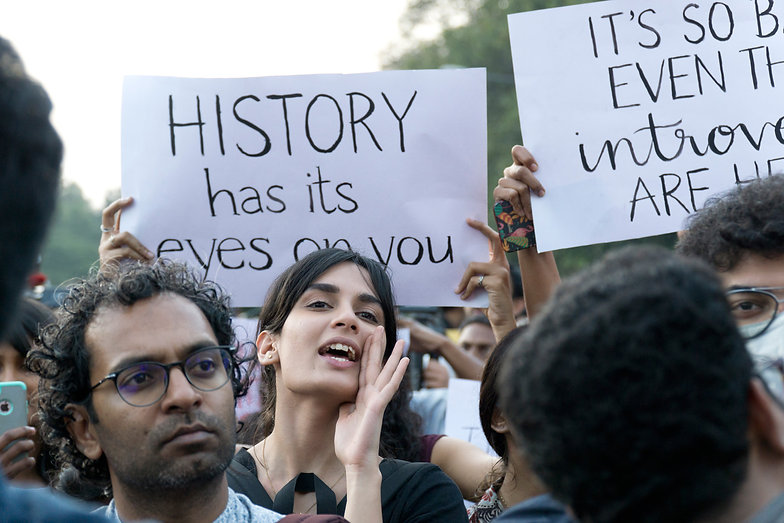 A student shouts a slogan condemning the Citizenship Amend Act (CAA) during a protest on Dec 22, 2019.