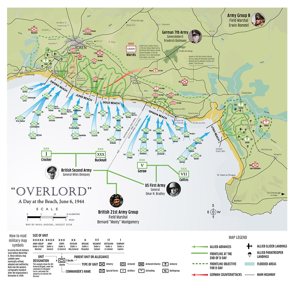 Map of D-Day and the Normandy invasion